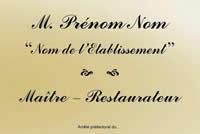 Plaque Maître Restaurateur